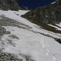 Abstieg vom Sattel zwischen Geißhorn u.Liechelkopf