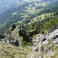 Blick vom Vorgipfel ins Tal