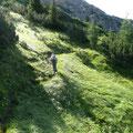 Hier beginnt die lange Querung unterhalb des Gipfels