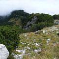 Abstiegsvariante über diesen Höhenrücken,rechts des Kärle