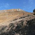 Blick zur Pfeilerspitze beim Aufstieg über den Fahrweg