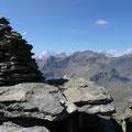 Am Gipfel der Kalfanwand mit Blick zum Ortler und Königspitze