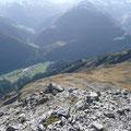 Beim Abstieg,mit Blick zum Pimig,ins Kaisertal und Krabbachtal