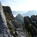 Beim Aufstieg zum Söllerkopf:Blick zum Pfeiler