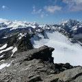 Blick von der Schildspitze auf Plattenspitze,sowie Königsspitze und Zufallmassiv
