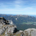 Blick zu den Tannheimer Paradegipfeln Rote Flüh Gimpel und Köllespitze