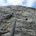 Loses Seil im Gipfelbereich des Linkerkopfes