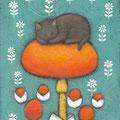 黒猫とタマゴタケ