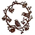 Edelrost Kranz mit Vögeln.