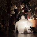 着るためのイニシエーション 上黒丸にて | 奥能登国際芸術祭2017 アートスフィア上黒丸企画 旧上黒丸小中学校に設置 | 着物の古着、竹、ナイロンコード