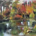 Lac en automne - 2014 - Huile sur toile, 39,5x30 cm
