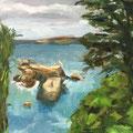 Le port - 2015 - Huile sur toile, 24x33 cm -  Ile Tristan à Douardenez