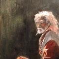 Sadhu - 2013 - Huile sur toile, 55x28  cm - Prêté pour le tournage de La dernière Leçon avec Juliette Binoche