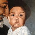 Laurent et l'enfant - 2013 - Huile sur toile, 50x60 cm - Bali