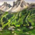 Névache - 2014 -  Huile  Huile sur papier, 41x33 cm - Serre Chevalier, Alpes du sud