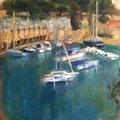 Port Miou - 2014 - Huile sur bois,  26,5x33 cm - Cassis en France