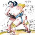 遠藤と琴集菊 渾身のがぶり寄り 遠藤完敗