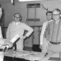 1975 anlässlich einer Bezirks-Veranstaltung: Helle Klipfel, Bezirks-Vorsitzender Leo Rein, Josef Brigandt, Dieter Graf
