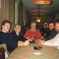 1990 Foto im Clubheim (Jahreszahl unsicher): Tobias Heise,Ludwig Burgmaier,Klaus Reindanz,Manuel Boxler, Hans Drechsler