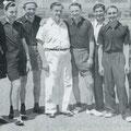 1949 (ca.) Bild aus der Anfangszeit der Tischtennis-Abteilung (nicht genau datierbar). Burgmaier, Halbherr, B. Stadelhofer, Haller, Raible, Wiehler, Beck, P. Greis