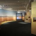 Das Panorama einer Wüstenlandschaft verbindet mit einem Perspektivspiel zwei Räume