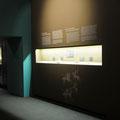 Vitrine und Wandtext auf den angelegten Wandfarben. Darunter eine Höhlenmalerei.