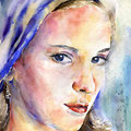 Mädchen mit Kopftuch (O5) / Watercolour 18x25cm