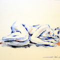sketch lying nude (O2) / Watercolour 17x24cm