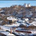 Blick vom Ziegenfels zur Burg Wolkenstein.