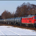 Das klare Winterwetter lockte mich in diesen Tagen noch einmal zu den Ludmilla-bespanten Kesselwagenzügen rund um Nossen. Hier jault 233 525 mit einem Leerzug in Richtung Meissen.