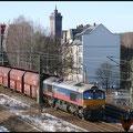 Gerade hat der Kohlezug Chemnitz-Süd passiert und nähert sich Chemnitz-Hbf., hier mit 29003 am 25.02.2010.
