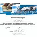 Teilnahmebestätigung für die Weiterbildung im Bereich Fahrzeugfolierung