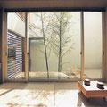 和室から中庭の竹を見る