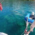 Die Lagune ist voll mit Korallenköpfen