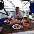 1,5kg Shrimps, fangfrisch auf den Tisch
