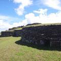 Steinbauten in denen sie während der Wettkämpfe gewohnt haben
