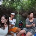 Wir paddeln und beobachten Reiher, Krabben usw.