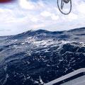 hohe Wellen und Kreuzsee
