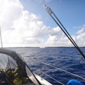 Am Horizont sieht man Das Riff und erste Inseln