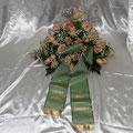 Gesteck 70 cm, rose`Rosen, Schleierkraut, Schleife hellgrün