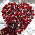 Herz 50 cm, dunkelrote Rosen, Schleierkraut, Schleife bordeux