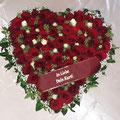 Herz 50 cm, dunkelrote Rosen