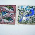 Carreaux de céramiques -motif poisson - motif fleur  -10x10cm