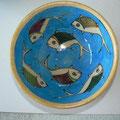 Bols bleu turquoise 15cm de diamètre  - motif poisson