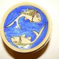 Bols bleu outremer  15cm de diamètre  - motif poisson