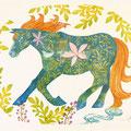 春の馬  木版   四つ切 ¥35000
