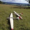 2x DFS Kranich II im M 1:10, zweisitziges Segelflugzeug aus den 30er Jahren