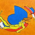 Am Badesee, Acryl-/Mischtechnik auf Leinwand, 80 x 100 cm
