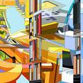 Radiologie  2015   -  Acrylfarbe auf LW  -  4teilig je  1,3m x 2,0m