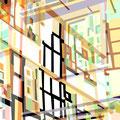 FACHWERKREIHE ÜBERLAGERUNG I   2004   -   Acrlfarbe auf LW   -   1,6m x 1,6m